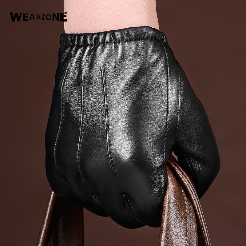 2017 Winter Men Genuine Leather Gloves New Fashion Brand Sheepskin Mittens Black Thicked Warm Fashion Men Driving Gloves