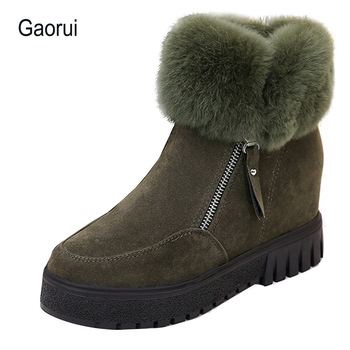 Gaorui New Winter Women increased Snow Boots Plush Zipper Platform Ankle Boots Woman High increasing Winter Boots Solid Warm