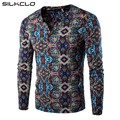 Brand Clothing Men's National Designed Unique Floral Print Base Shirt Men's linen V Neck Long Sleeve T-shirt Slim Fit Tees
