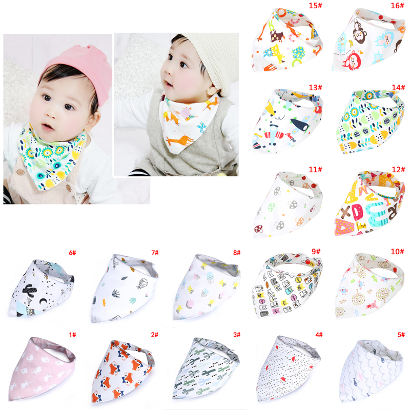 Cotton Newborn Baby Bibs Kawaii Feeding Bib Baby Nursing Bandana Burp Cloth For Girls Boys Double Side Baby Scarf Kerchief D35