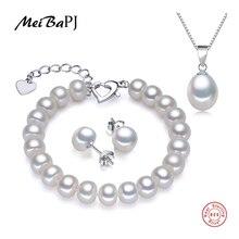 8597b8a4bef  Meibagj  925 prata top quality 100% genuine conjuntos de jóias de pérolas  de água doce para as mulheres pingente colar e brinco.