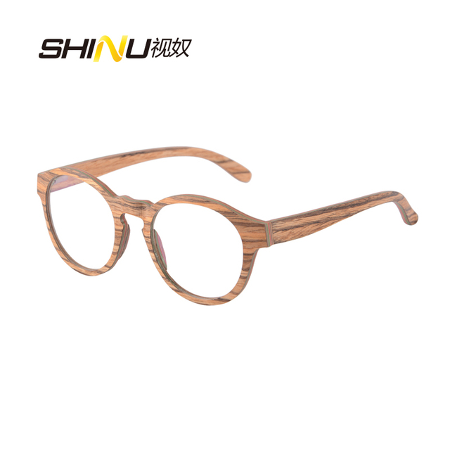 6a0495ec87 NEW Round Wood Glasses Frames Men Clear Lens Prescription eyeglass Frames  Computer Reading Glasses Women With