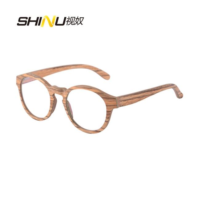 c347c5592c7 NEW Round Wood Glasses Frames Men Clear Lens Prescription eyeglass Frames  Computer Reading Glasses Women With
