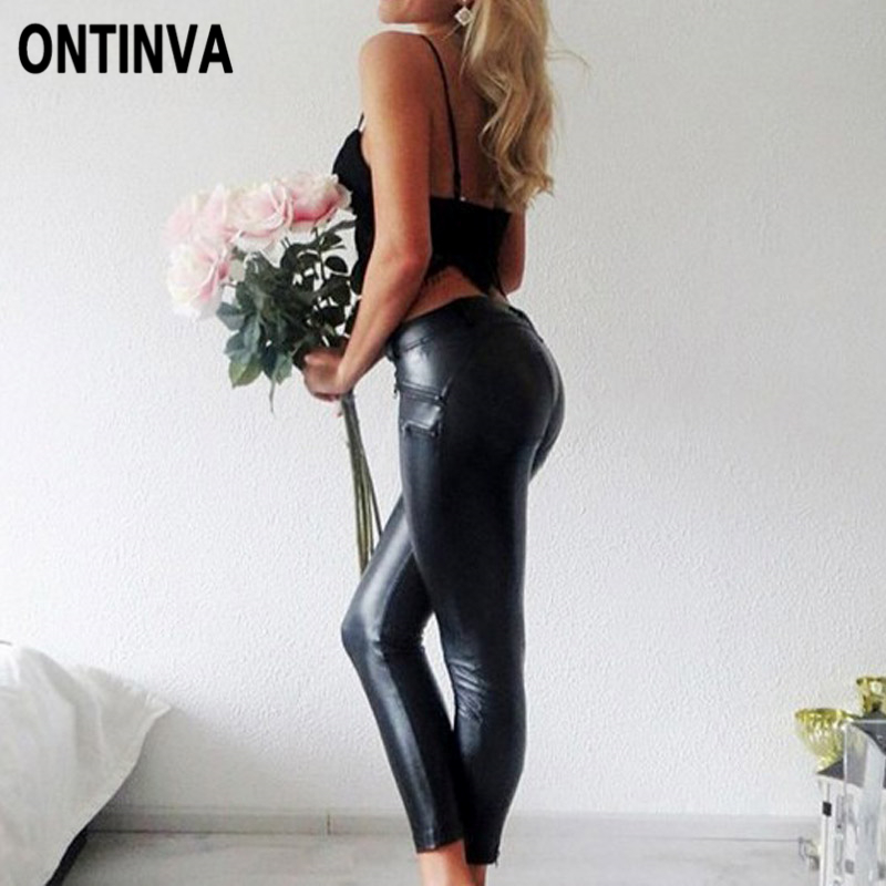 Sexy Women PU Leather Butt Lifter Leggings Mid Waist Heart Push Up Leggins Plus Size 3XL Slim Ladies Casual Gothic Pencil Pants plus size women in leather