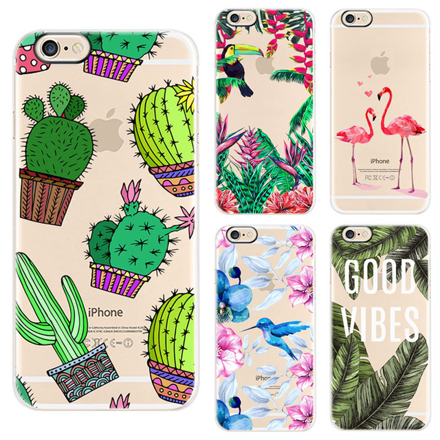 finest selection a4bf0 e5b9f US $1.94 25% OFF|EKONEDA Case For iPhone 6 6S 7 8 Plus Case Flower Plants  Cactus Leaves Flamingo Pineapple Silicone Cover For iPhone 6 Plus Case-in  ...