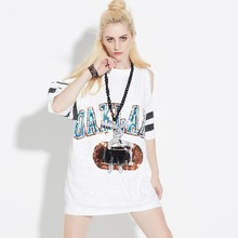 Woman Club Dresses 2018 Sequin T Shirt Dress Plus Size Loose Tee Shirts Glitter Tops Summer Dress Sequin tops Free Shipping