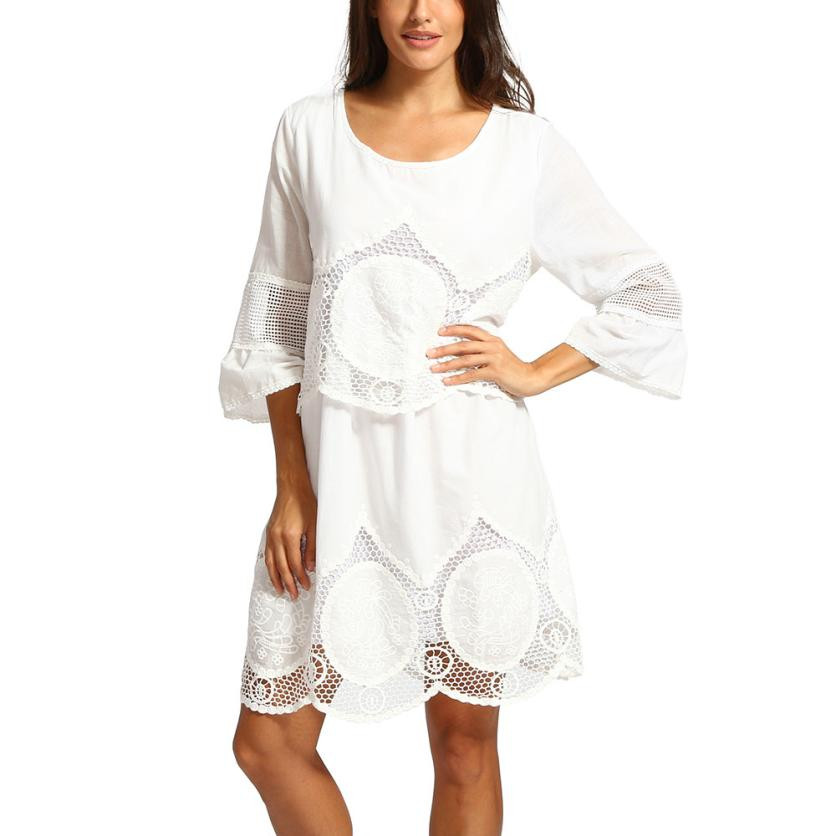 Plus Size White Lace Embroidery Boho Beach Dress Women Hollow-out O Neck Three Quarter Flare Sleeve Mini Dress Sundress 13.5#30