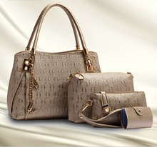 New Arrival New handbag pu fashion embossed O word three piece set of portable hand held