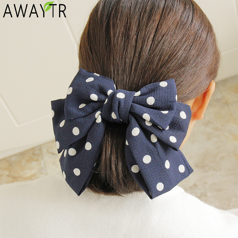 Chiffon Fabric Dot Leopard Print Large Bow Hair Clip Headband Hairpins Women Barrettes Adult Back Clips Women Hair Accessorie