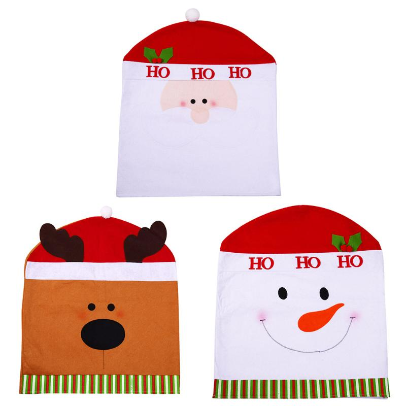 Non-woven Santa Claus Cap Chair Cover Christmas Dinner Table Party Red Hat Chair Back Covers Xmas Decoration