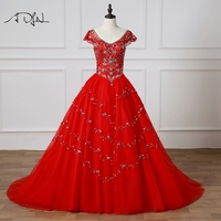 ADLN Red Quinceanera Dresses Custom Made Ball Gown V neck Cap Sleeve Debutante Dress Prom Gown Vestido 15 Anos