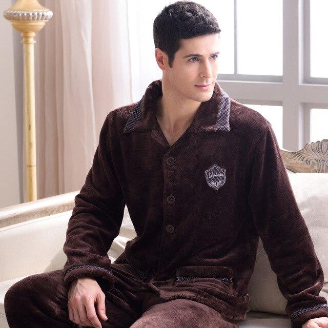 Winter Male Thickening Flannel Lounge Long-sleeve Coral Fleece Sleepwear
