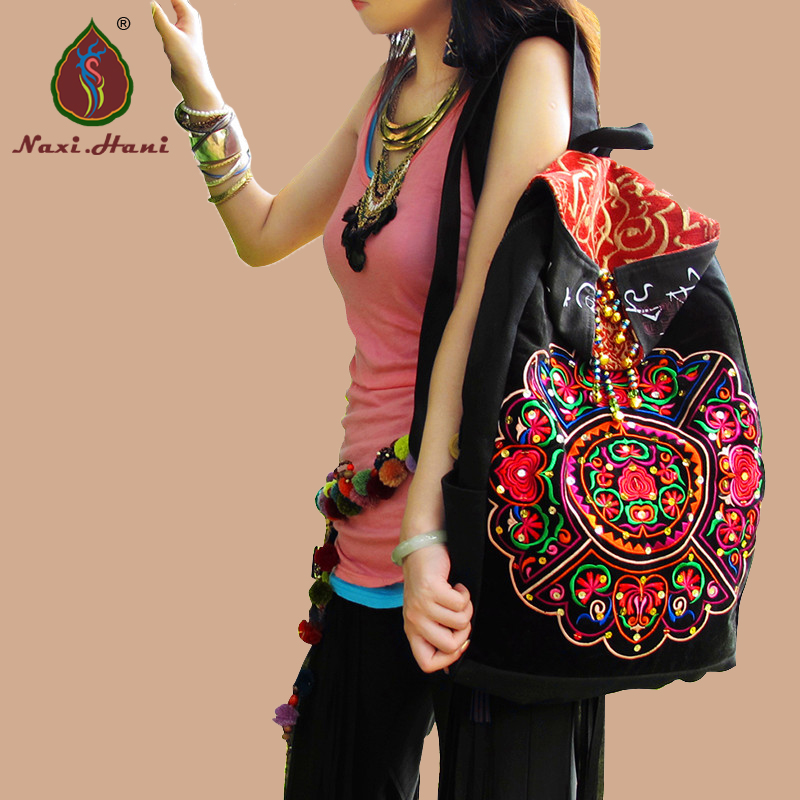 Naxi.Hani Original Ethnic embroidery women Backpacks Vintage Fashion black canvas Travel Backpacks xiyuan brand newest classic vintage unisex canvas backpack ethnic embroidery large casual travel backpacks