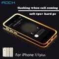 Para iphone 7 7 plus case rock serie tubo de luz original cáscara del teléfono Del Brillo TPU Cajas Del Teléfono de Llamada Entrante Parpadeo del LED cubre
