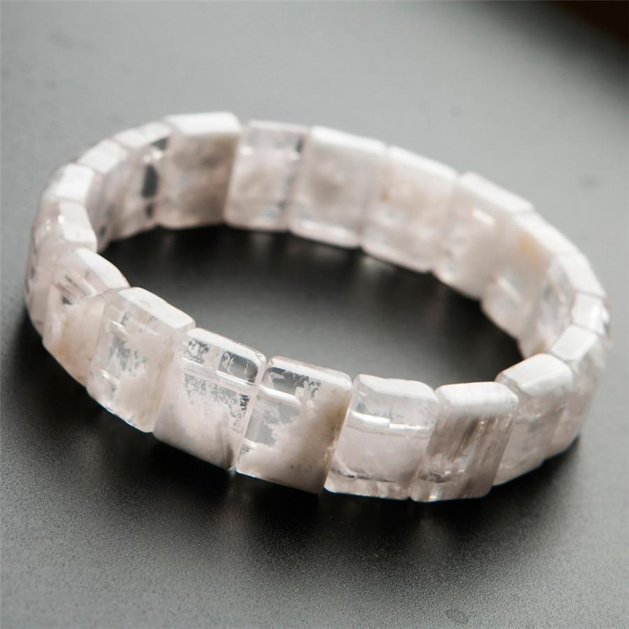 Genuine Natural Sericite Stone White Crystal Rectangle Beads Women Healing Bracelet 14*10*6mm stylish golden hollow rounded rectangle hasp bracelet for women