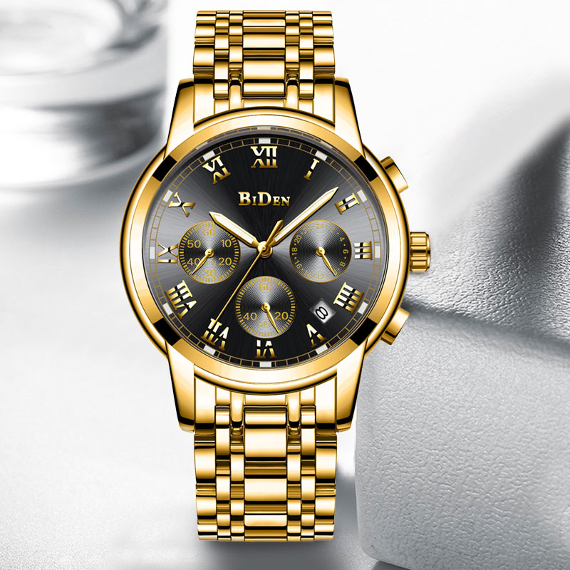 BIDEN watch Gold Mens Watches Multifunctional Clock Stainless Steel Business watch for men Quartz Wristwatch relogio masculino-in Quartz Watches from Watches    2