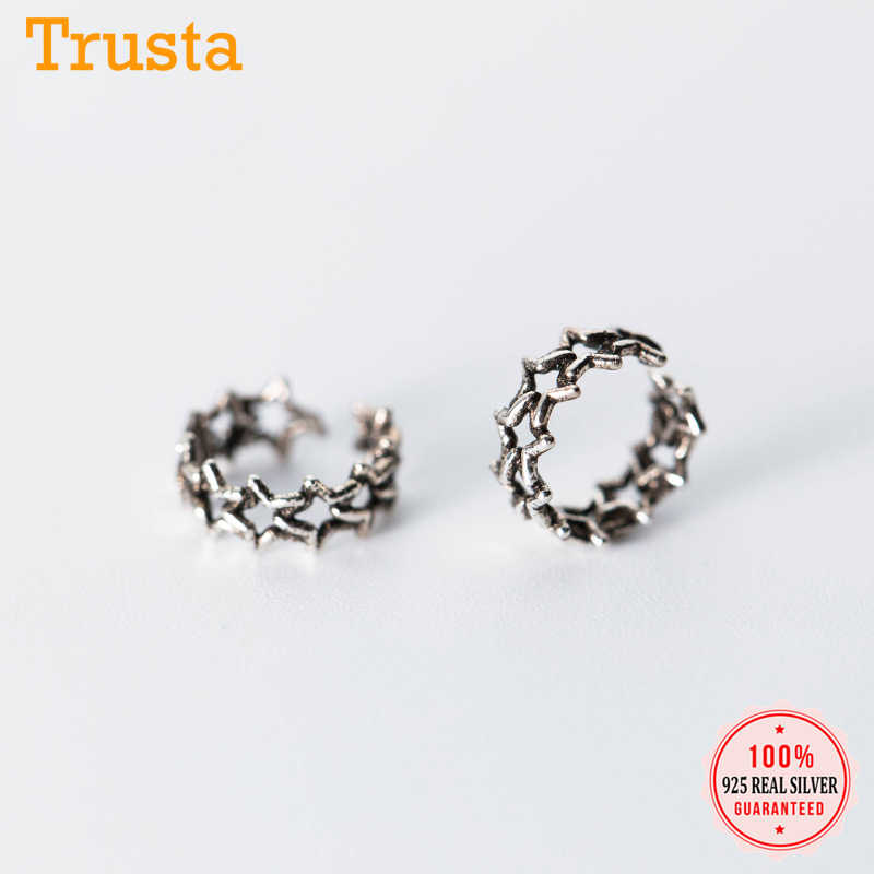 Trusta 100% 925 Sterling Silver Hollow Star Ear Cuff Clip on Earrings For Women Girl Without Piercing Earings Jewelry DS739