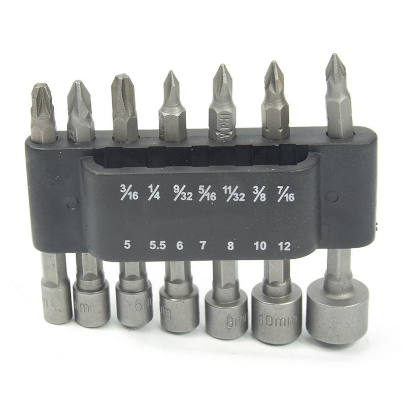Milda 14pcs screwdriver Set Hex small Socket Sleeve Nozzles Nut Drill Bit Adapter Power Tools Kit Hex Sleeve Driver Set 5-12mm