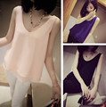 Blusas New Hot Sale Sleeveless Cotton Formal Appliques Blouse 2014 Spring And Summer Women's Double Layer Elegant Chiffon Vest