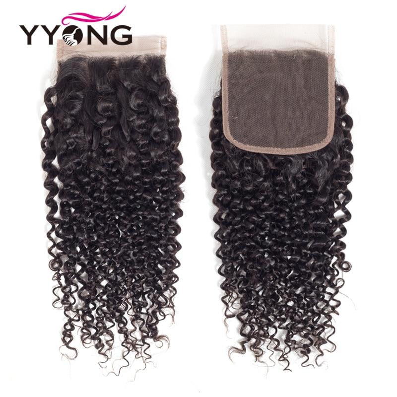 Yyong Brésilien Kinky Bouclés Bundles Avec Fermeture 3 Faisceaux de - Cheveux humains (noir) - Photo 4
