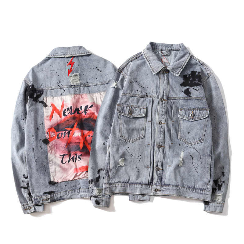 b9c6bd01983b ... ABOORUN Hi Street Mens Oversized Denim Jackets Hip Hop Painted Patchwork  Jeans Jackets Streetwear Autumn Coat ...