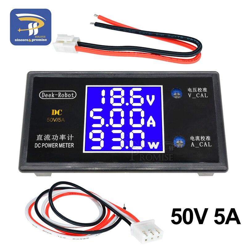 DC 0-100V 1000W 10A 0-50V 250W 5A LCD Digital Voltmeter Ammeter Wattmeter Voltage Current Power Meter Volt Detector Tester