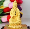 Художественная Коллекция-2020 домашний декор для гостиной-11 см эффективная статуя буддизма авалокитевары с золотым покрытием