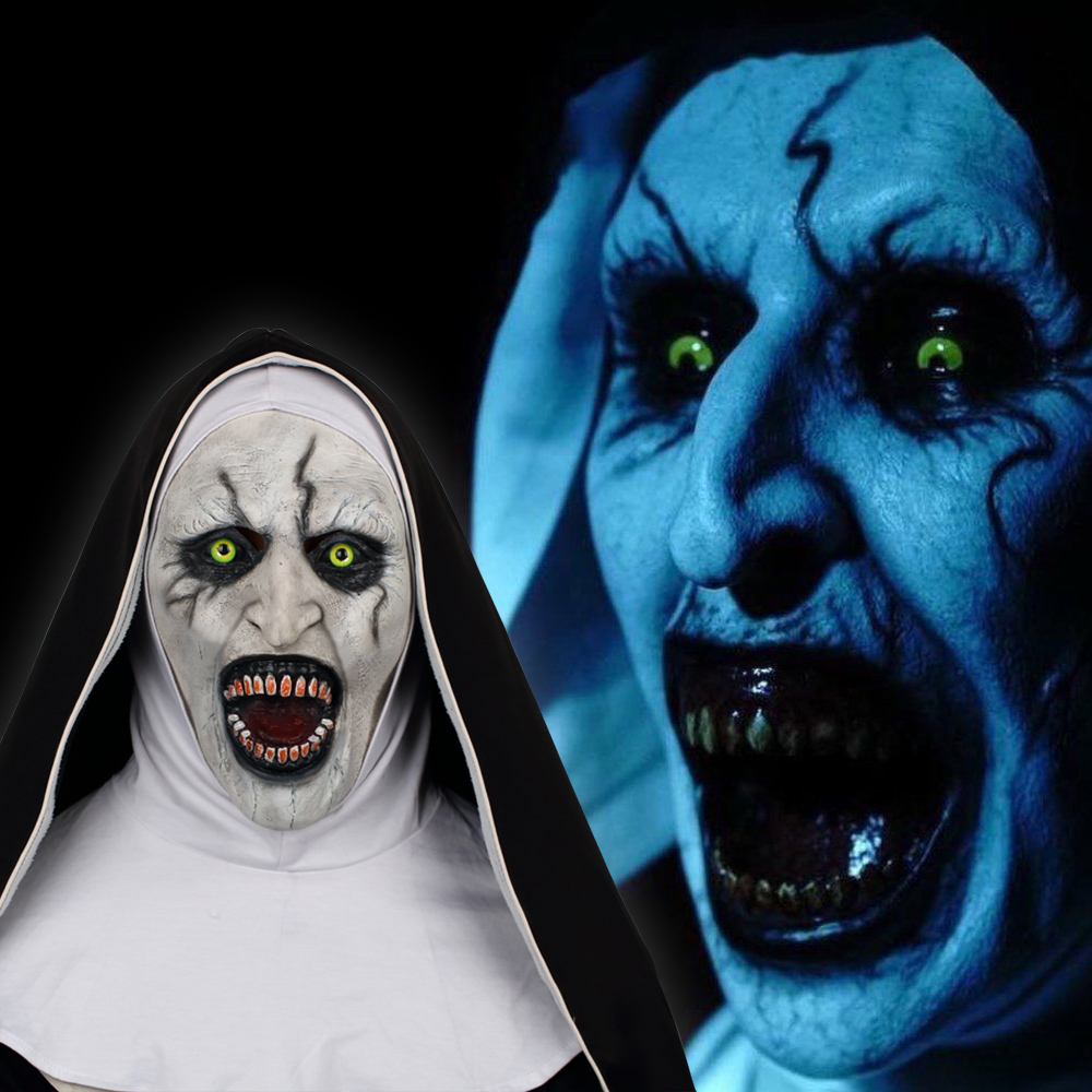 2018 The Nun Horror Mask The Conjuring Valak Cosplay Mask Full Head Horror Scary Halloween Party Props (4)