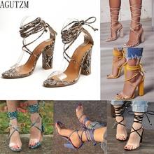AGUTZM High Heels Sandals Women Pumps PVC Transparent Strappy Fashion Shoe Casual Waterproof Sandal  z110