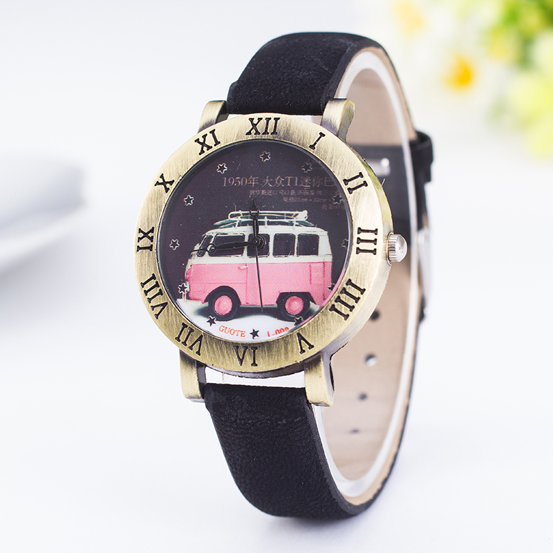 2016 Hot Sale Fashion Women Watch Children Leather Quartz Watches kid Cute Bus Vintage Casual Rome Style Wristwatch Star Relojes
