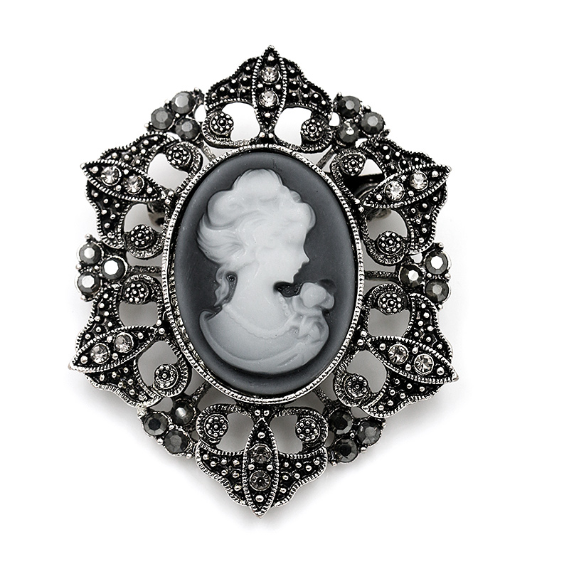 baiduqiandu brand Vintage Style Crystal Cameo Brooches for Women in Antique Silver or Gold Color Plated