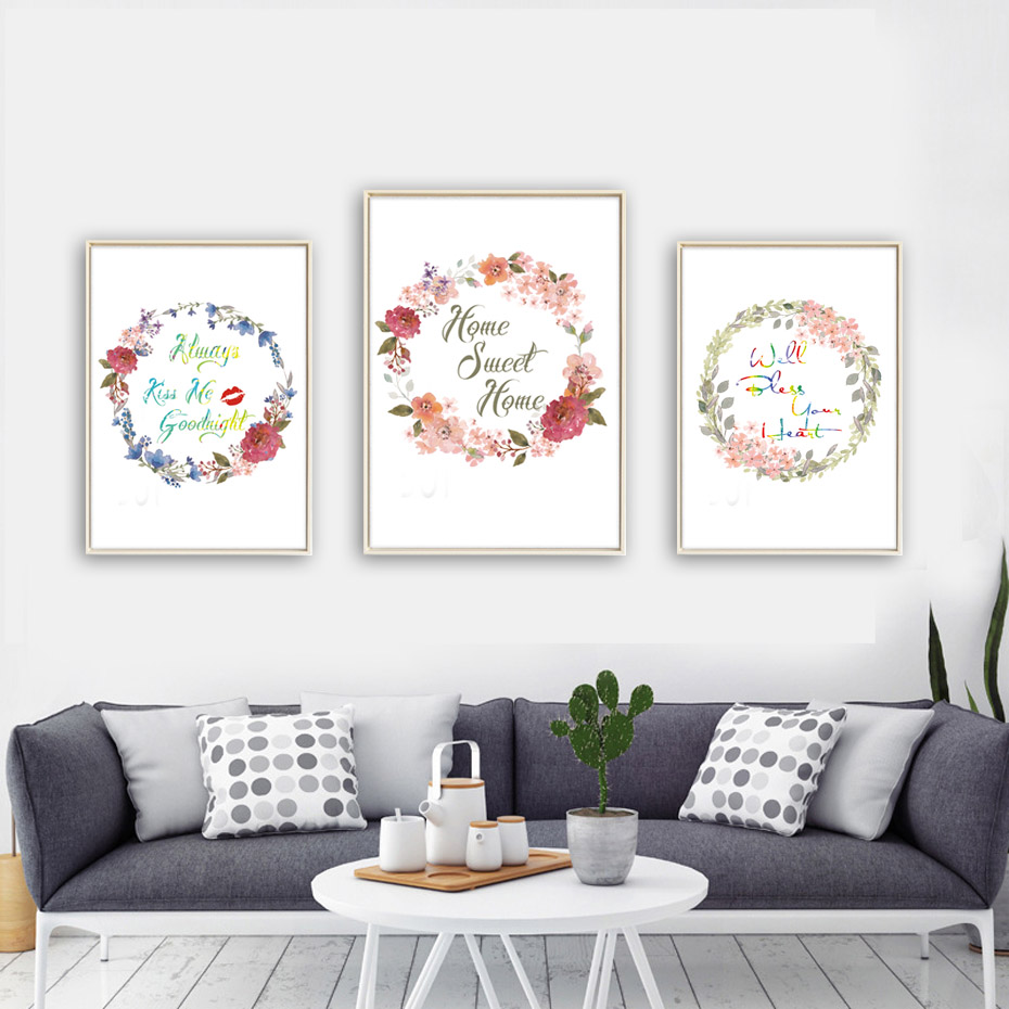 Aliexpress.com : Buy Nordic Beautiful Flowers Home Sweet Home Quote Canvas  Art Painting Print Poster Office Wall Pictures Home Decor No Frame From  Reliable ...
