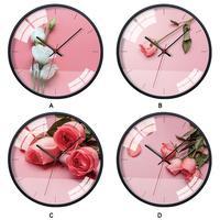 Rose Flower Pattern Round Modern Home Bedroom Multicolor 30.5cm/12.0inch Art Wall Clock
