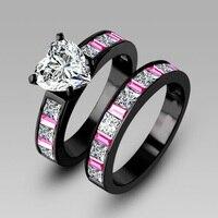 Choucong Обручение розовый sapphrie 5A камень циркон 10KT кольцо из чёрного золота с 2 в 1 Для женщин обручальное кольцо комплект Sz на возраст от 5 до 11 ле