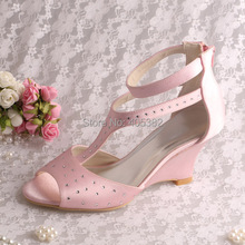 Custom Handmade Gladiator Wedge Heels Sandals Pumps Pink Satin with Zipper Size 9