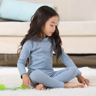 Toddler Girl   Pajama     Set   Kids Warm Half High Collar Homewear Winter New Boys 2 Pcs Long Sleeve Pants + Tops Children Clothing   Set