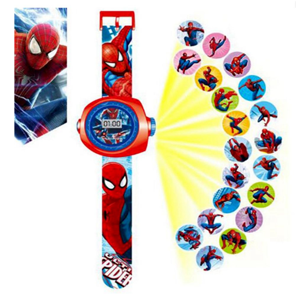 1pcs Cartoon Digital Watches Led Projector Figures Super Hero Spiderman Batman Iron Man Snow White Action Figures Kid Toy