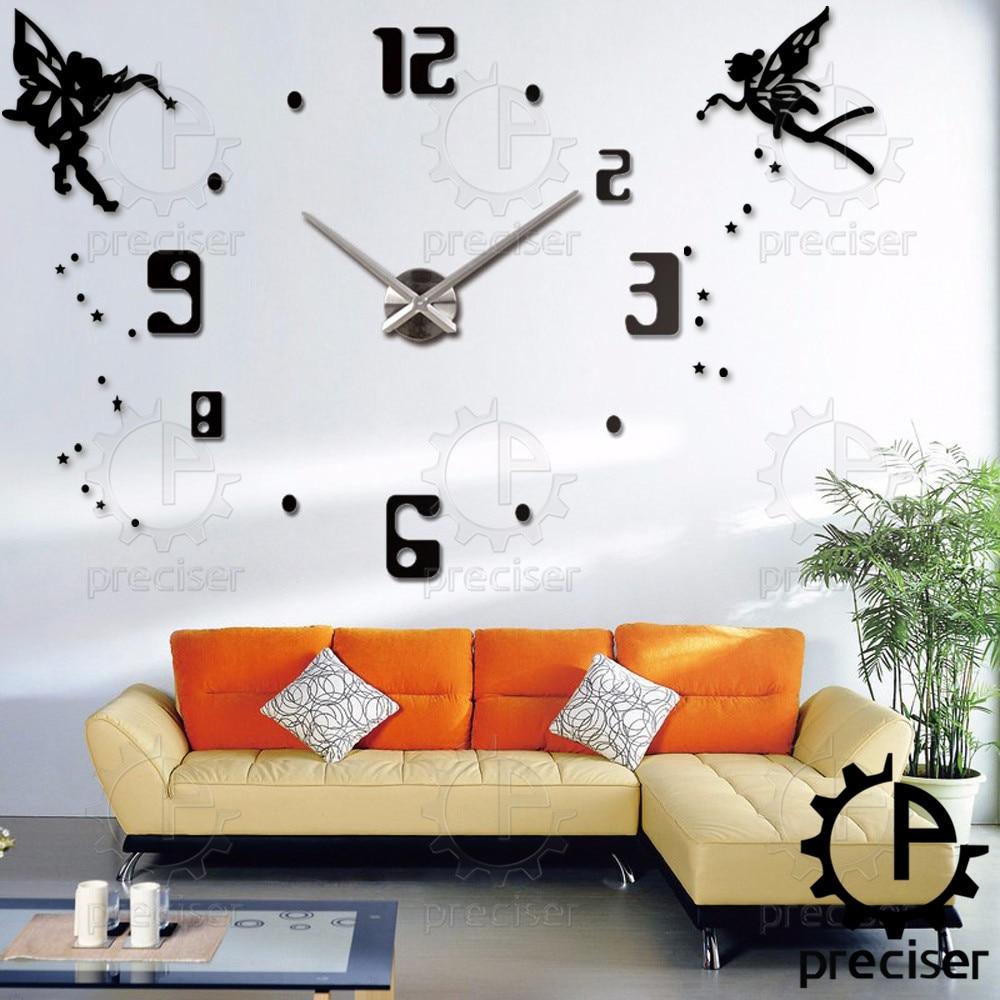 online get cheap big wall stickers princess aliexpress com angel wings princess diy large 3d number mirror wall sticker big watch home decor art clock