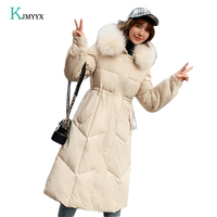 KJMYYX 2019 Big Fur Green Parkas Women Down Cotton Jacket Plus Size Womens Parkas Thicken Outerwear Hooded Winter Coats Female