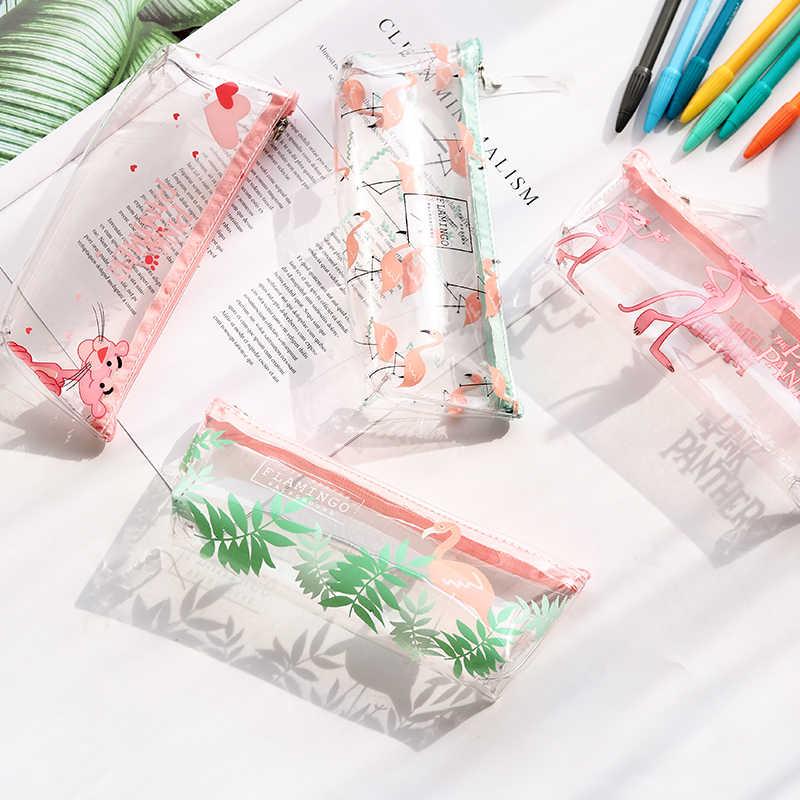 1 adet/satış sevimli kalem kutusu cadılar bayramı şeffaf güzel pembe panter desen okul malzemeleri öğrenci kırtasiye noel hediyesi