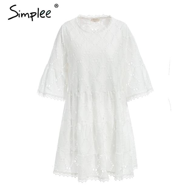 Flare Sleeve Cotton White Lace Dress Women Casual Ladies Dress Summer High Waist Short Dress Autumn Vestidos Festa