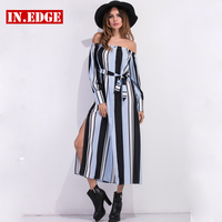 Women Long Dresses Elegant Belt Split Dress Female Slash Neck Sexy Linen Dress Office Lady Party Beach Maxi Dress Big Plus Size