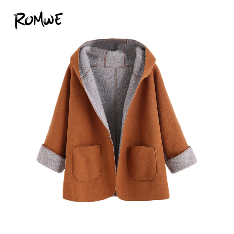 ROMWE Women's Winter Designer Coats Fashion Winter Coats Women Khaki Contrast Sherpa Lining Single Button Hooded Coat