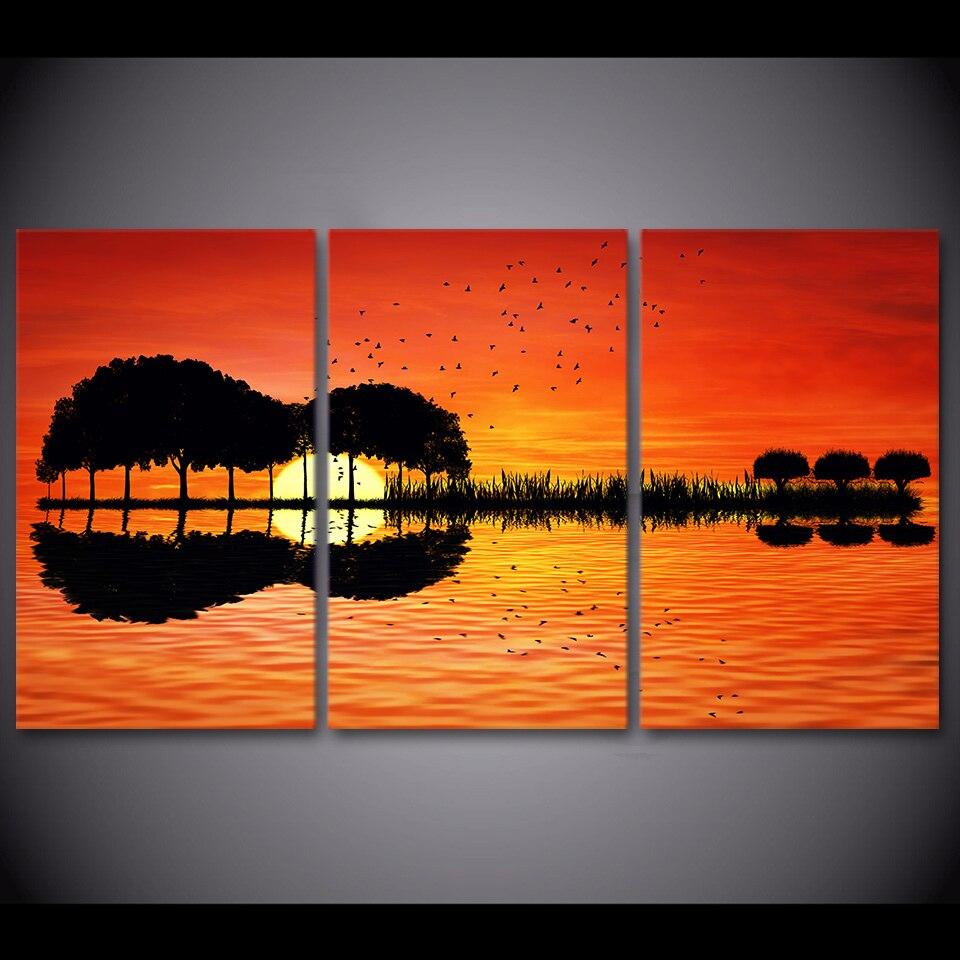 3 Stks Gitaar Boom Meer Reflectie Zonsondergang Canvas