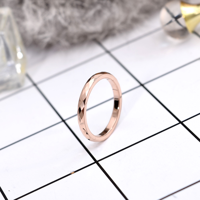 YUN RUO Modern Simplify Rose Gold Color Rhombus Ring Ladys Birthday Gift for Woman Fashion Titanium Steel Jewelry Never Fade