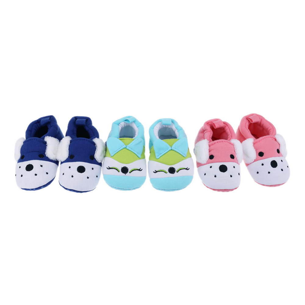 Winter Baby Shoes Newborn Shoes Cute Warm Infant Toddler Boot Anti Slip Soft Cotton Shoes Animal Printed Knitted Prewalkers