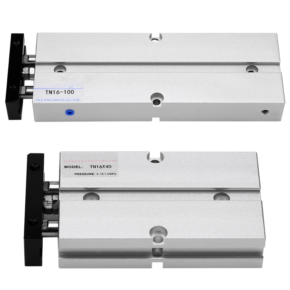 1pc 16mm Bore Double-rod Double-acting Aluminum Alloy Pneumatic Air Cylinder cdj2d 10 16mm mini pneumatic cylinder double acting double clevis style more types refer to form