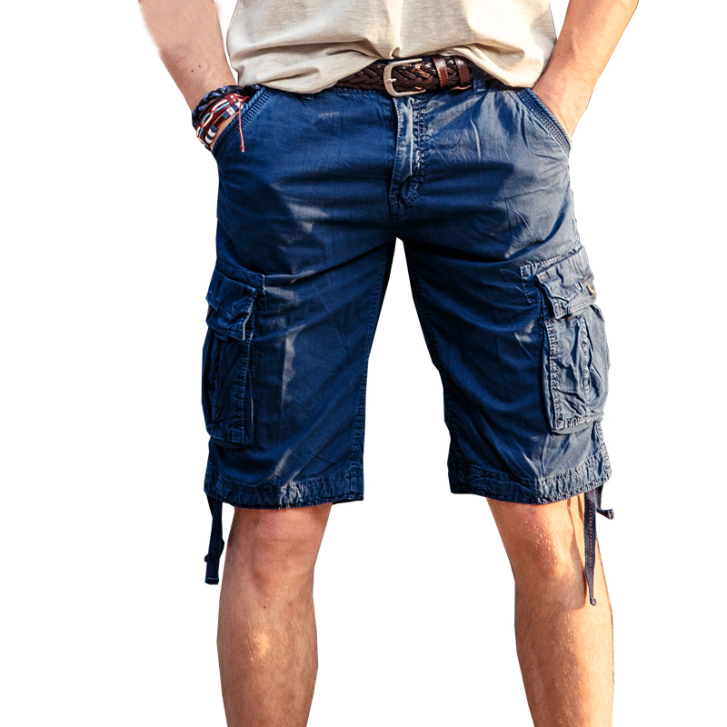 drop shipping muškarci tereta kratke hlače 100% pamuk ljeto čovjek kratke hlače labav stil muti-džepa kombinezone 29-40 JPDK01