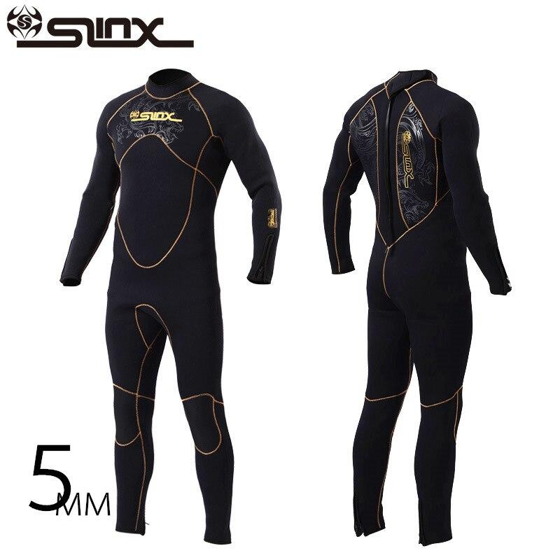 Slinx Brand 5MM Neoprene One piece Wetsuit Men Frogman Scuba Dive Diver Wet Suit Winter Swim Surf Snorkeling Spearfishing