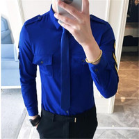 Military Shirt Men 2018 Army Shirt Men With Tie Dress Shirt Long Sleeve Aeronautica Militare Royal Blue Men Korean Fashion 5xl